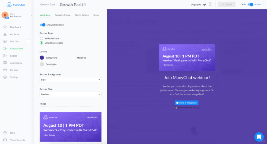 landing page do manychat