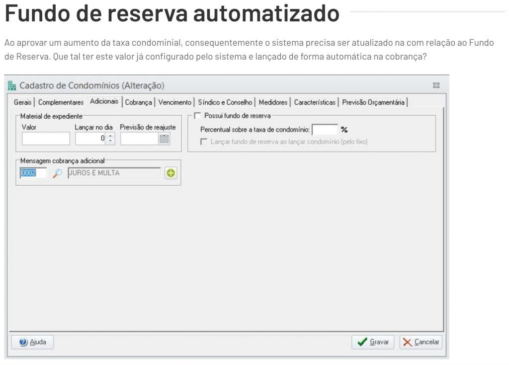 Fundo de reserva automatizado do Alterdata Immobile