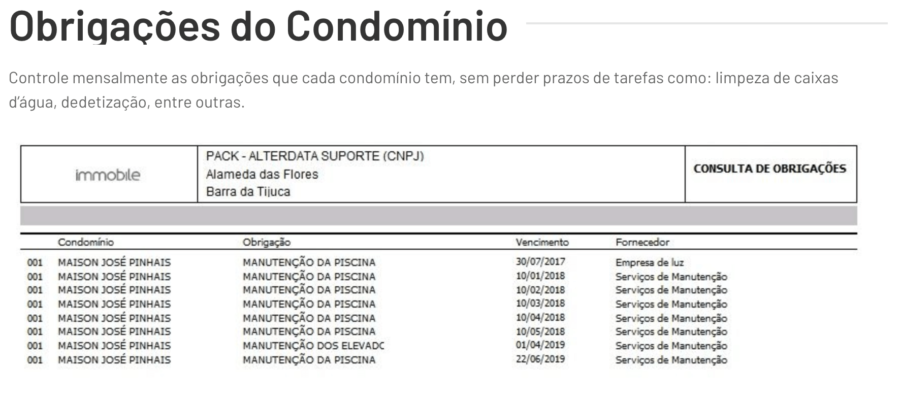 Exemplo de obrigações de condominio do Alterdata
