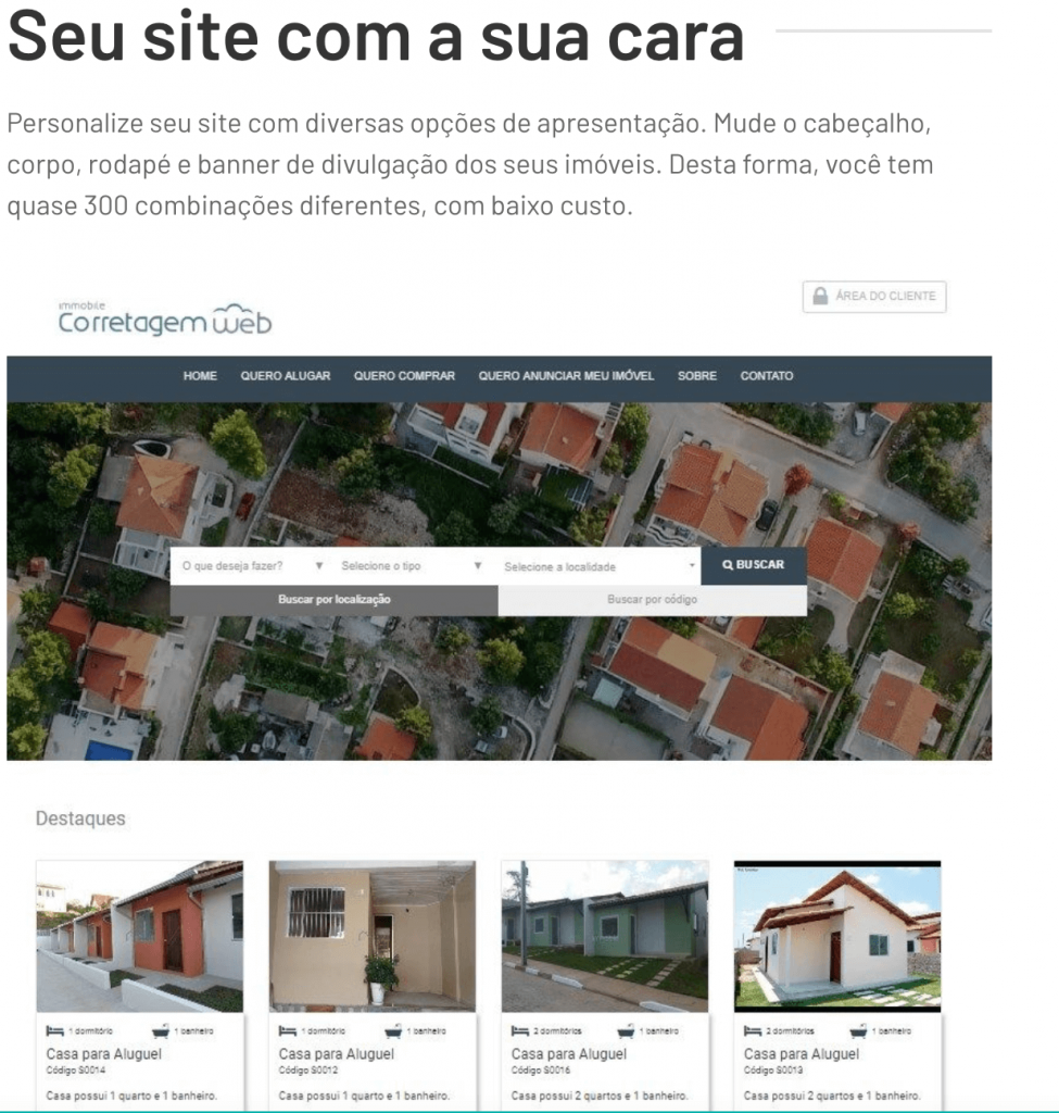 Personalização de site do Alterdata Immobile
