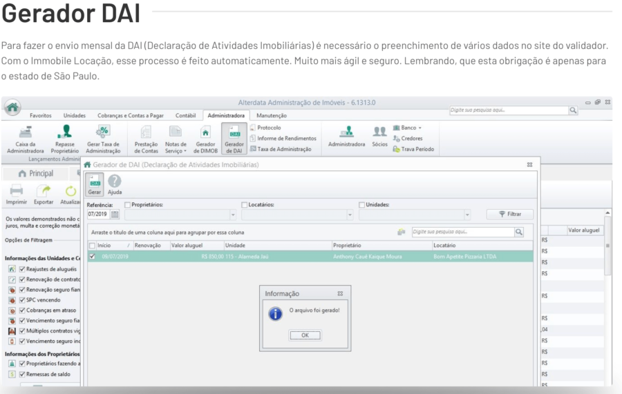 Exemplo de DAI do Alterdata