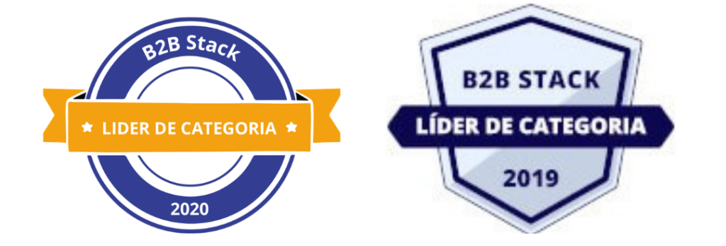 Selo B2B Stack lider de categoria 2020 e 2021