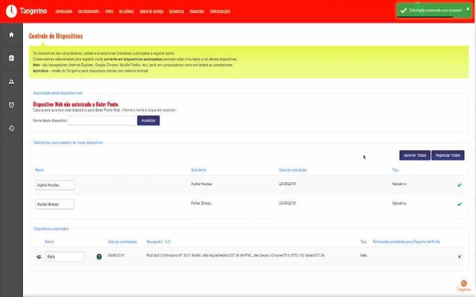 OTangerinoé um aplicativo para controle de ponto eletrônico indicado para micro e pequenas empresas