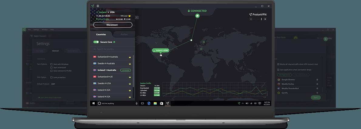 Dashboard do VPN Proton