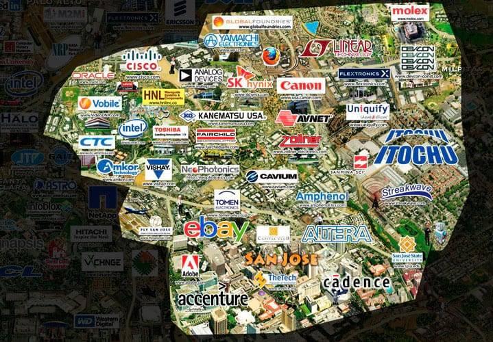Mapa de empresas do Vale do Silício.