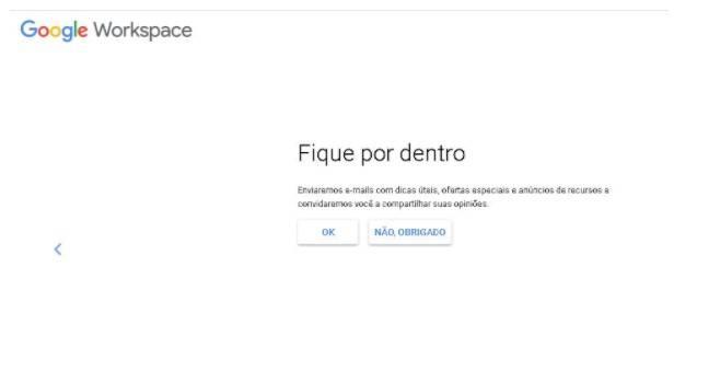Tela de cadastro do Google drive