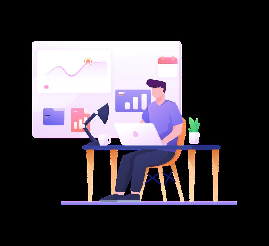 Desenho representando uma pessoa do sexo masculino sentada, em frente a um notebook