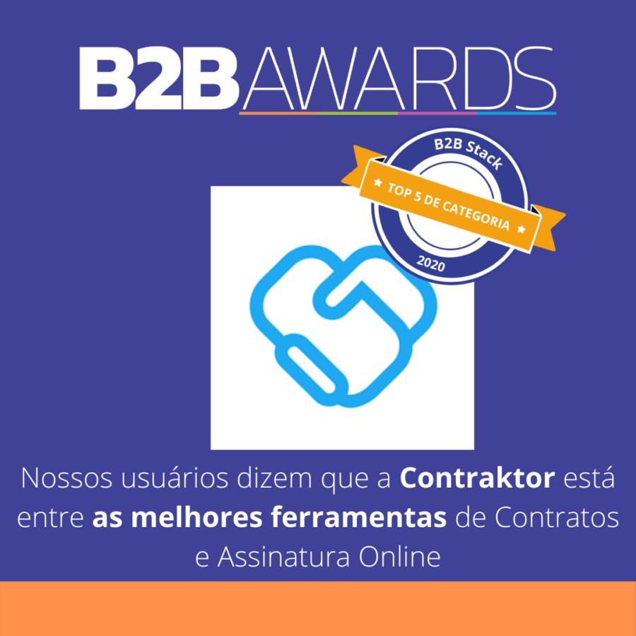 Logo da Contraktor com o selo de vencedora do B2BAwards, com fundo roxo azulado