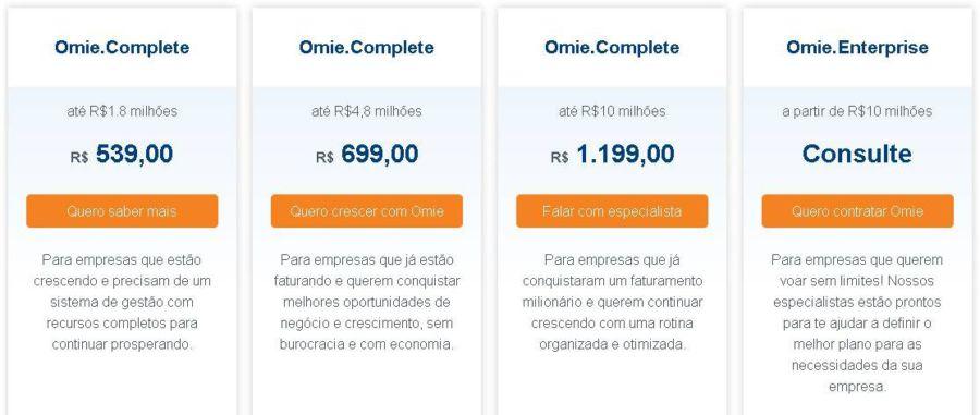 preços Omie ERP