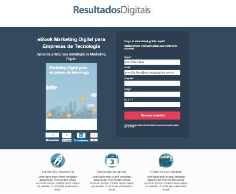 Landing page do RD Station Marketing