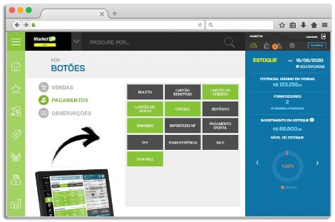 tela de botões MarketUP