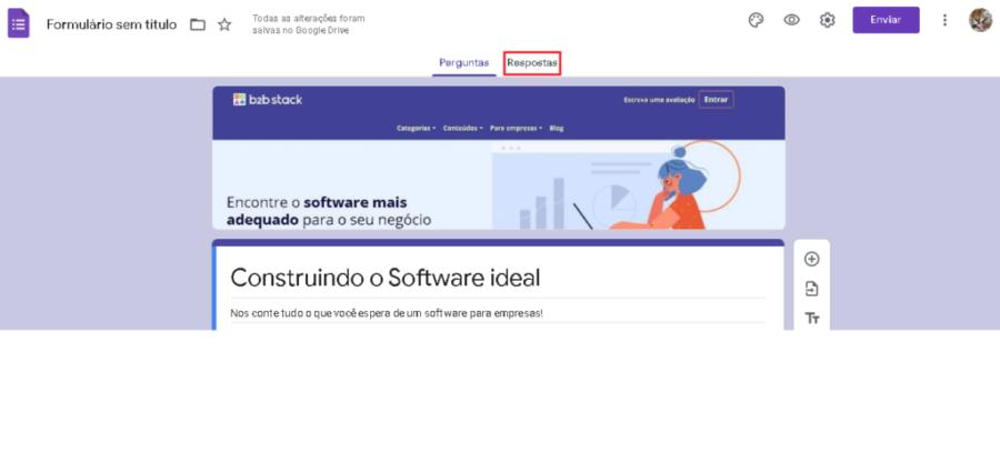 Imagem com destaque em vermelho ao botão 'respostas' que está localizado no centro superior da tela