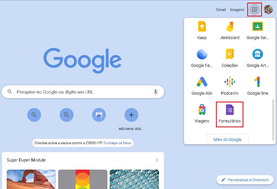 Tela do Google forms