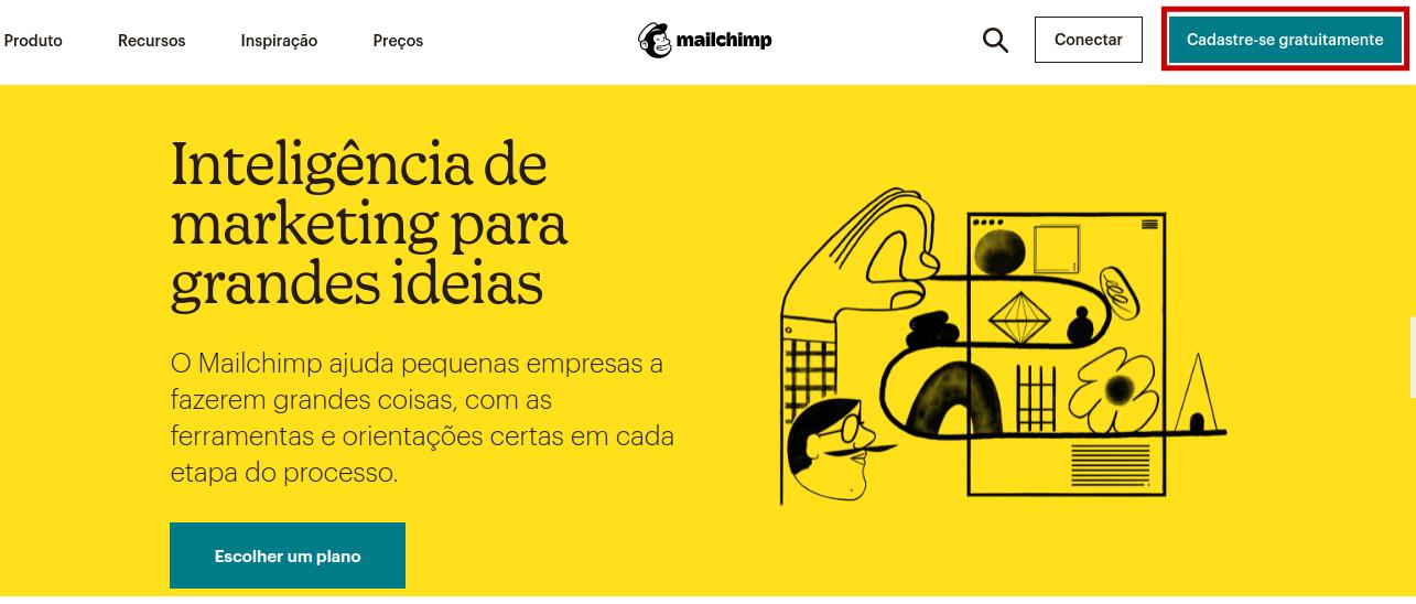 Página inicial do Mailchimp com a cor amarela predominante na tela e com destaque em vermelho na parte superior direita no botão 'cadastre-se gratuitamente'