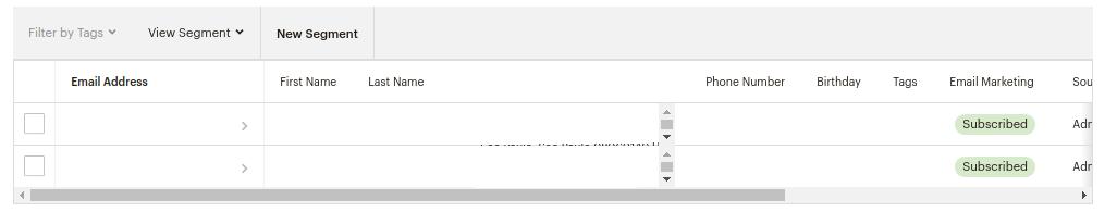Tela do Mailchimp que mostra os contatos adicionados na plataforma em lista