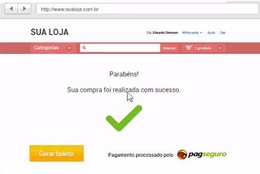 Mensagem de confirmação de compra no Pagseguro