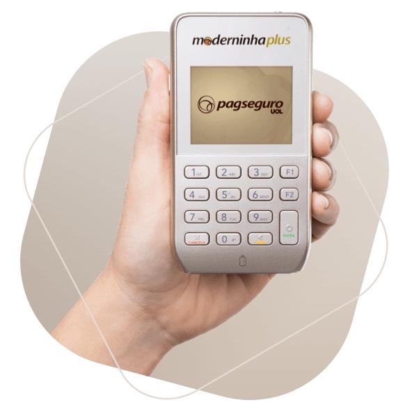 Imagem da máquina de cartão intitulada Moderninha Plus do Pagseguro