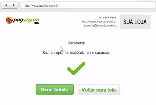 Imagem com botão para gerar recibo de compra no PagSeguro