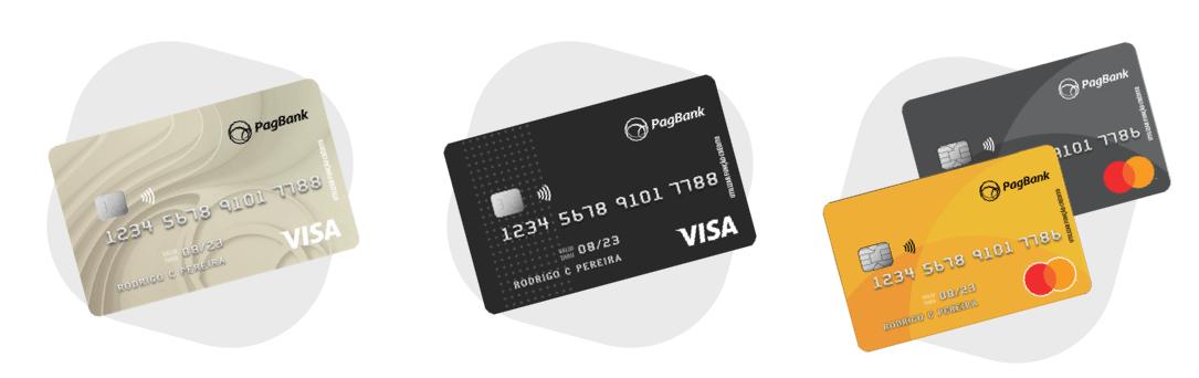 Imagem ilustrada com três cartões de banco com função de credito disponibilizados pelo PagSeguro