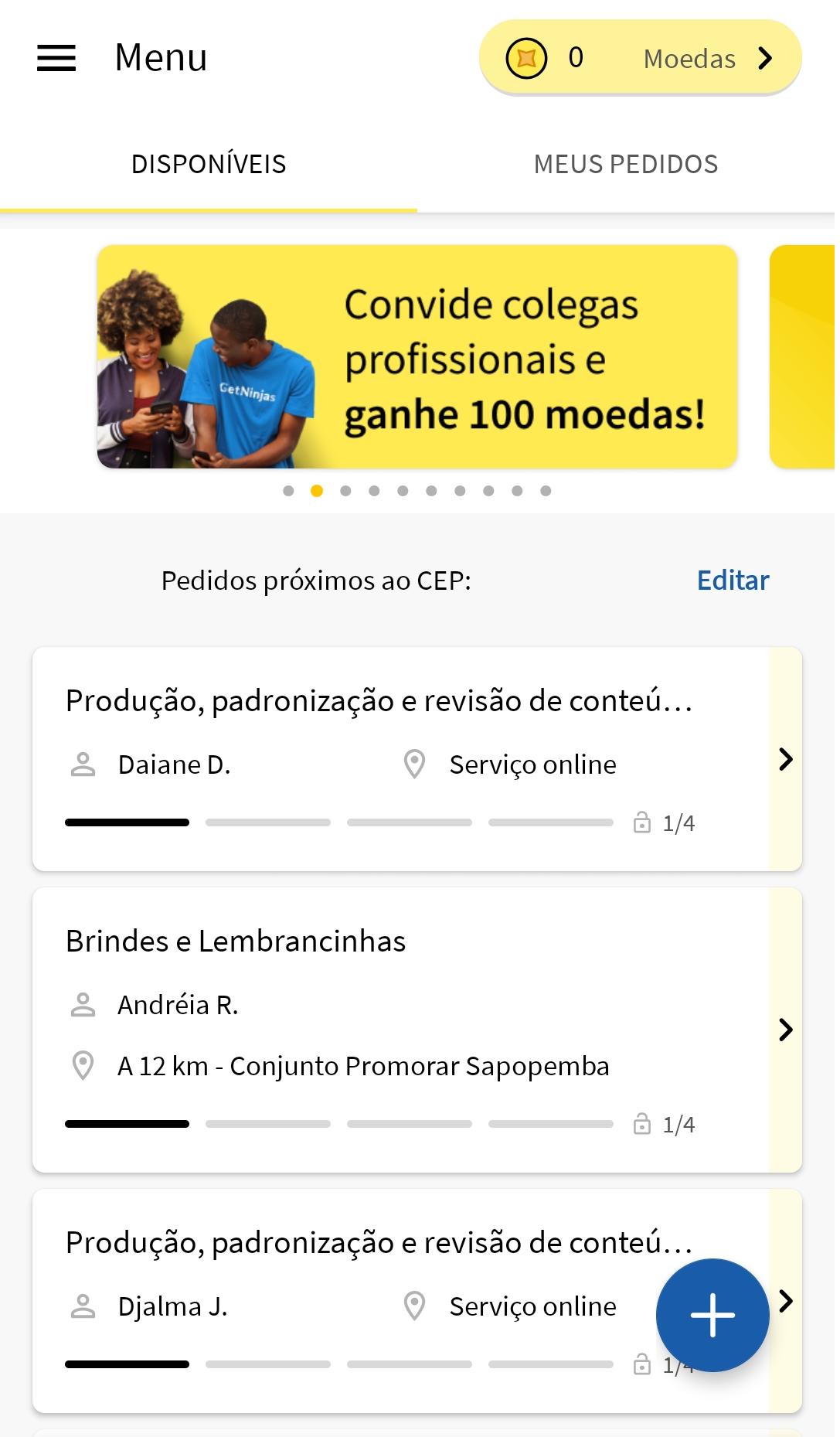 Tela inicial do site Getninjas com um banner no topo em cor amarela com a mensagem 'Convide colegas profissionais e ganhe 100 Reais'