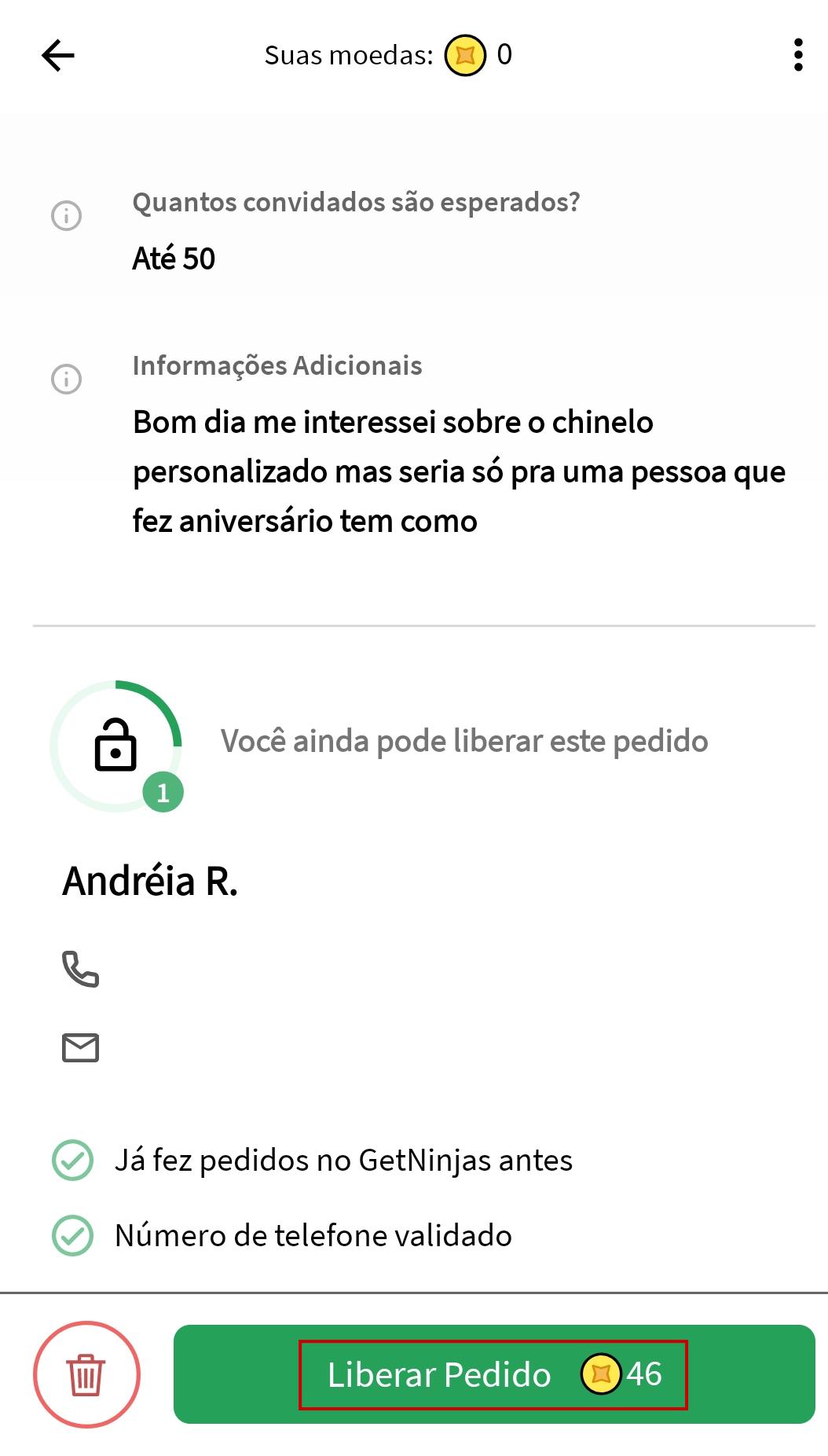 Tela do aplicativo GetNinjas com destaque aum botão em cor verde na parte inferior da tela com a mensagem 'Liberar pedido'
