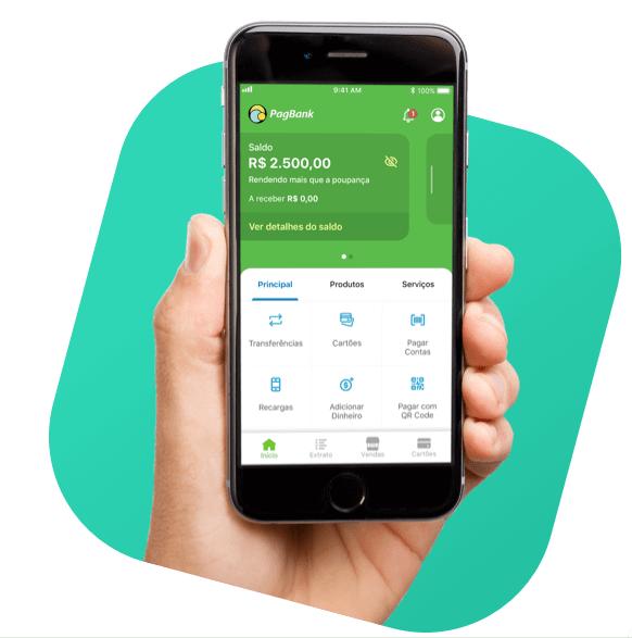 Imagem mostra uma mão segurando um celular com o aplicativo do PagSeguro aberto