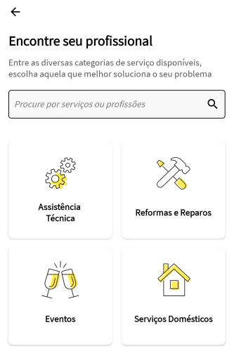 Imagem com icones de opções dentro do aplicativo GetNinjas