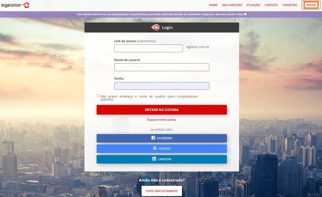 Imagem da tela de login com opção de acesso ao inserir nome e senha no eGestor