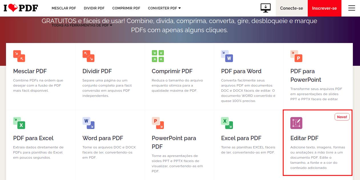 Tela do IlovePDF com a opção do editar PDF