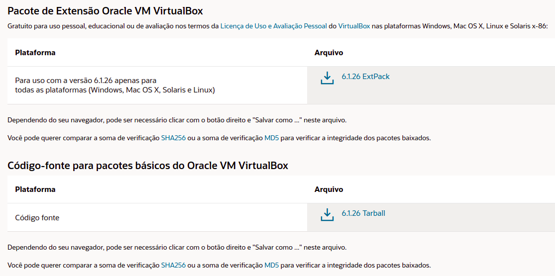 Imagem com diversas opções de configuração dentro do VistualBox