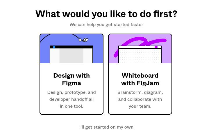 A imagem mostra duas opções para o inicio de criação no Figma