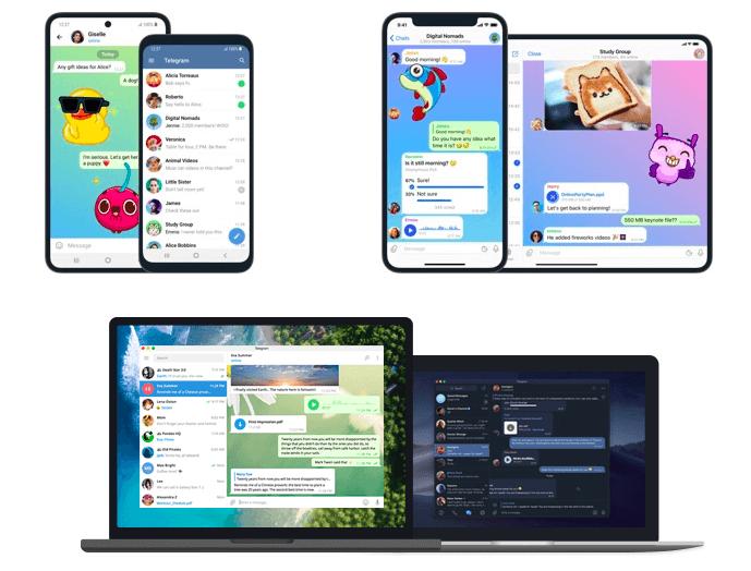 A imagem mostra diversos dispositivos com o aplicativo do Telegram. Acima temos celulares e tablets e abaixo temos notebooks.
