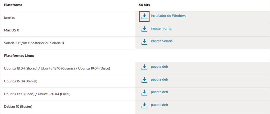 Imagem da página de download com opções para diversos sistemas operacionais