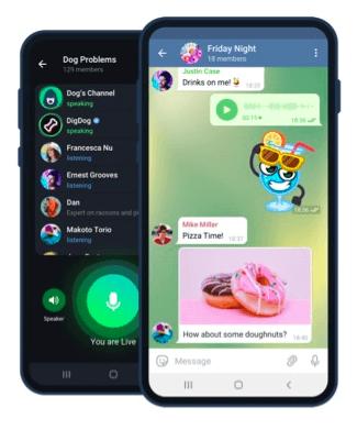 Imagem de dois celulares com telas do Telegram