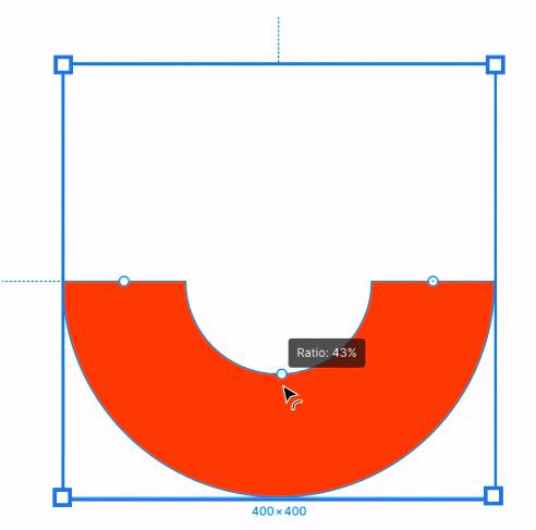 A imagem mostra a criação de um logo no Figma. O logo tem forma de 'U' com a cor vermelha