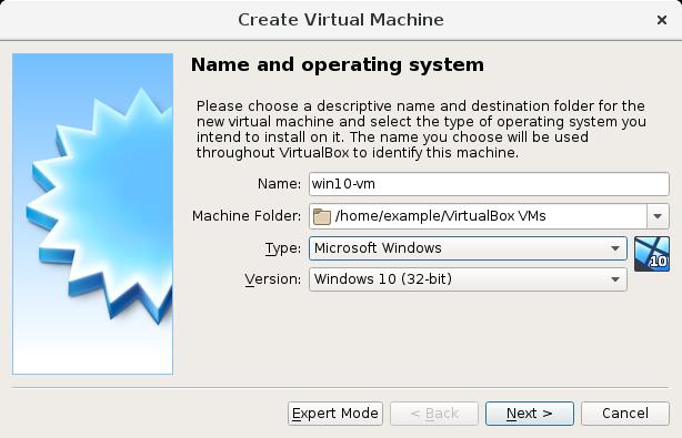 Aqui temos as opções de um VirtualBox de Windows 10