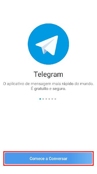 Imagem da tela inicial do Telegram com o logo centralizado na parte de cima de imagem e um botão 'comece a conversar' na parte debaixo. Ambos tem o azul como cor predominante