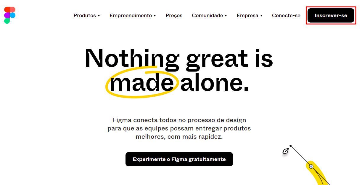 Imagem da página inicial do site do Figma. O tema da página tem as cores branco e preto e a palavra 'made' está circulada com a cor amarela