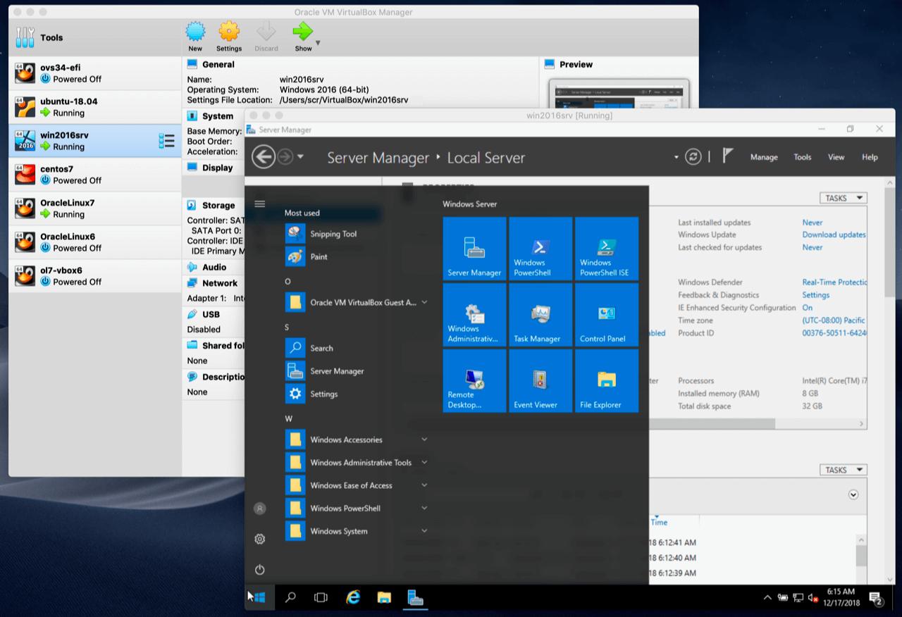 Imagem mostrando uma vistualBox em uso. São duas janelas, uma com o sistema Linux e outra com o Windows