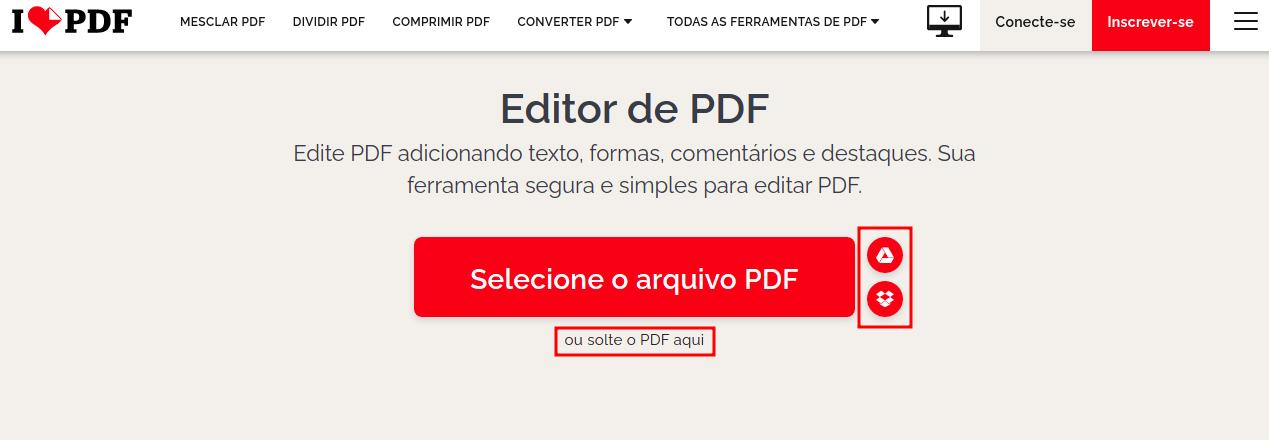 Imagem mostra um botão para o usuário clicar e selecionar o pdf a ser convertido no ilovepdf