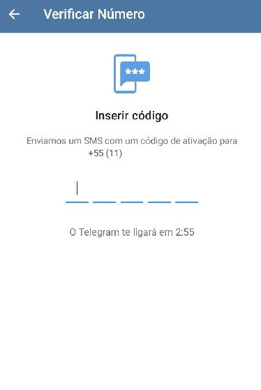 Na imagem temos cinco espaços para que o usuário insira o código recebido no ato da inicialização do cadastro no Telegram