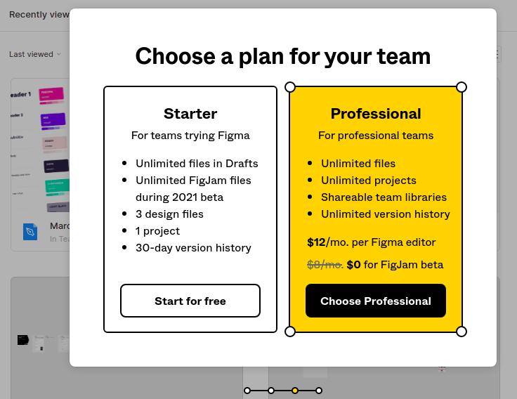A imagem apresenta duas opções de planos para que o usuário escolhe. Um deles se chama 'starter' e está na esquerda com o fundo branco, e o outro se chama 'professional' e está na direta com fundo amarelo