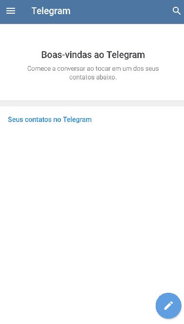 Tela de boas bindas do Telegram